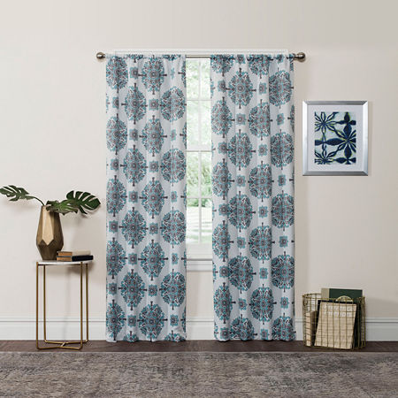 Eclipse Olivia Light-Filtering Rod-Pocket Single Curtain Panel, One Size , Blue