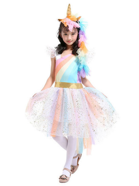 Milanoo Rainbow Unicorn Dresses Baby Girls Princess Tutu Fancy Dress Headband Wings Kids Halloween Costume