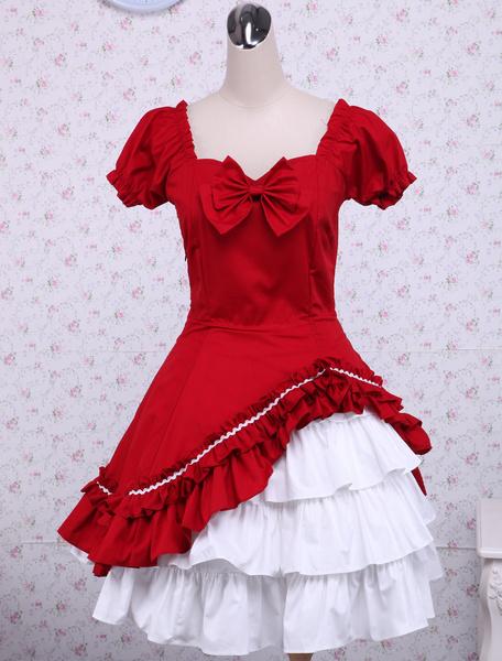 Milanoo Algodon Rojo Blanco Lolita OP Vestido Cortas Mangas Volantes y Lazo