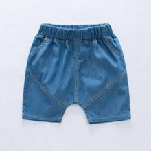 Denim Shorts mit elastischer Taille