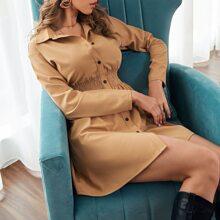 Single Breasted Shirred Waist Shirt Dress