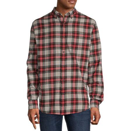 St. John's Bay Super Soft Mens Long Sleeve Flannel Shirt, Large , Gray