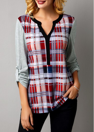 Women'S Multicolor Plaid Print Long Sleeve Split Neck T Shirt Tunic Casual Top By Rosewe - XXL