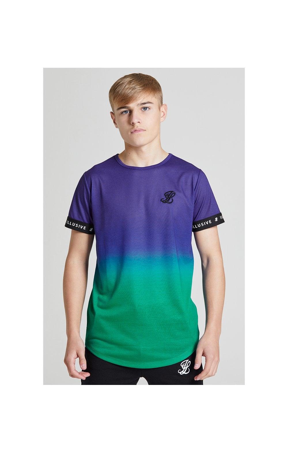 Illusive London Fade Tech Tee - Purple & Teal Green  Kids Top Size