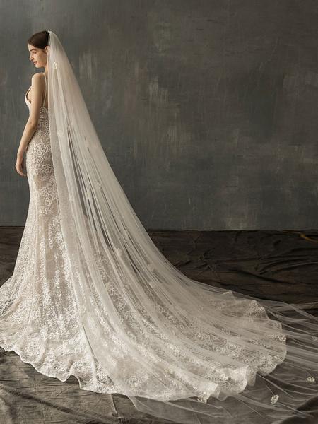 Milanoo Wedding Veil One-Tier Applique Cut Edge Classic Bridal Veils