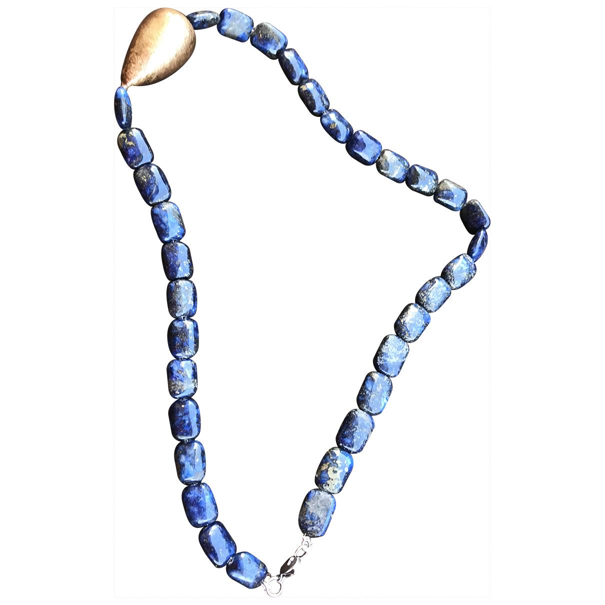 - Collier Lapis lazuli pour femme en acier - bleu