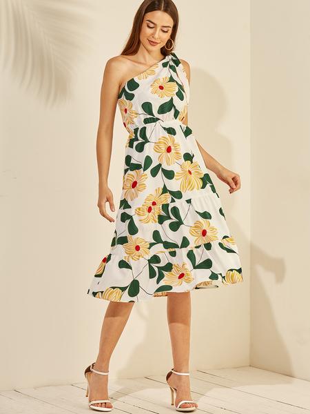 YOINS White Ruffle Trim Floral Print One Shoulder Dress