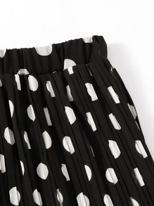 Polka Dot Pleated Elastic Waist Skirt