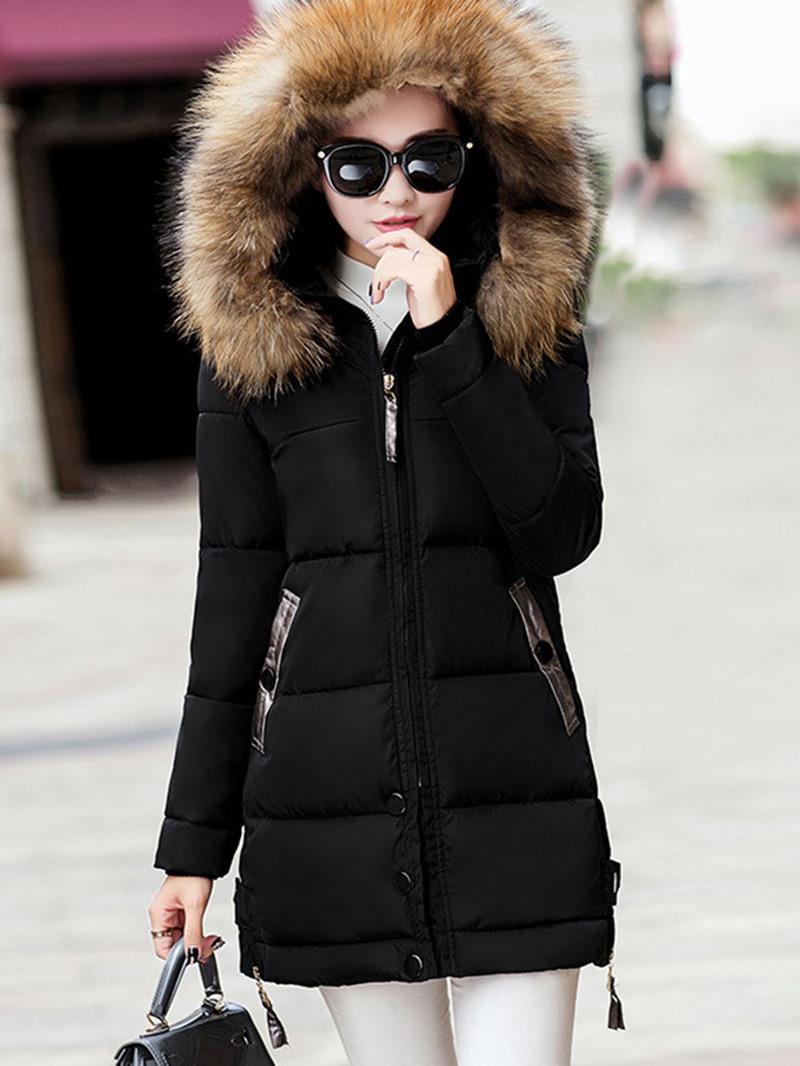 Ericdress Plain Mid-Length Fur Collar Down Coat
