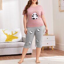 Schlafanzug Set mit Panda & Buchstaben Grafik