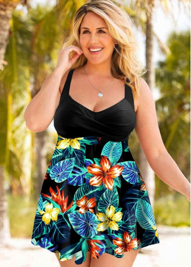 Rosewe Women Plus Size Floral Printed Swimdress Bathing Suit Two Piece Padded Wire Free Spaghetti Strap Swimsuit And Shorts - 3X