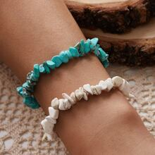 2pcs Irregular Stone Beaded Bracelet