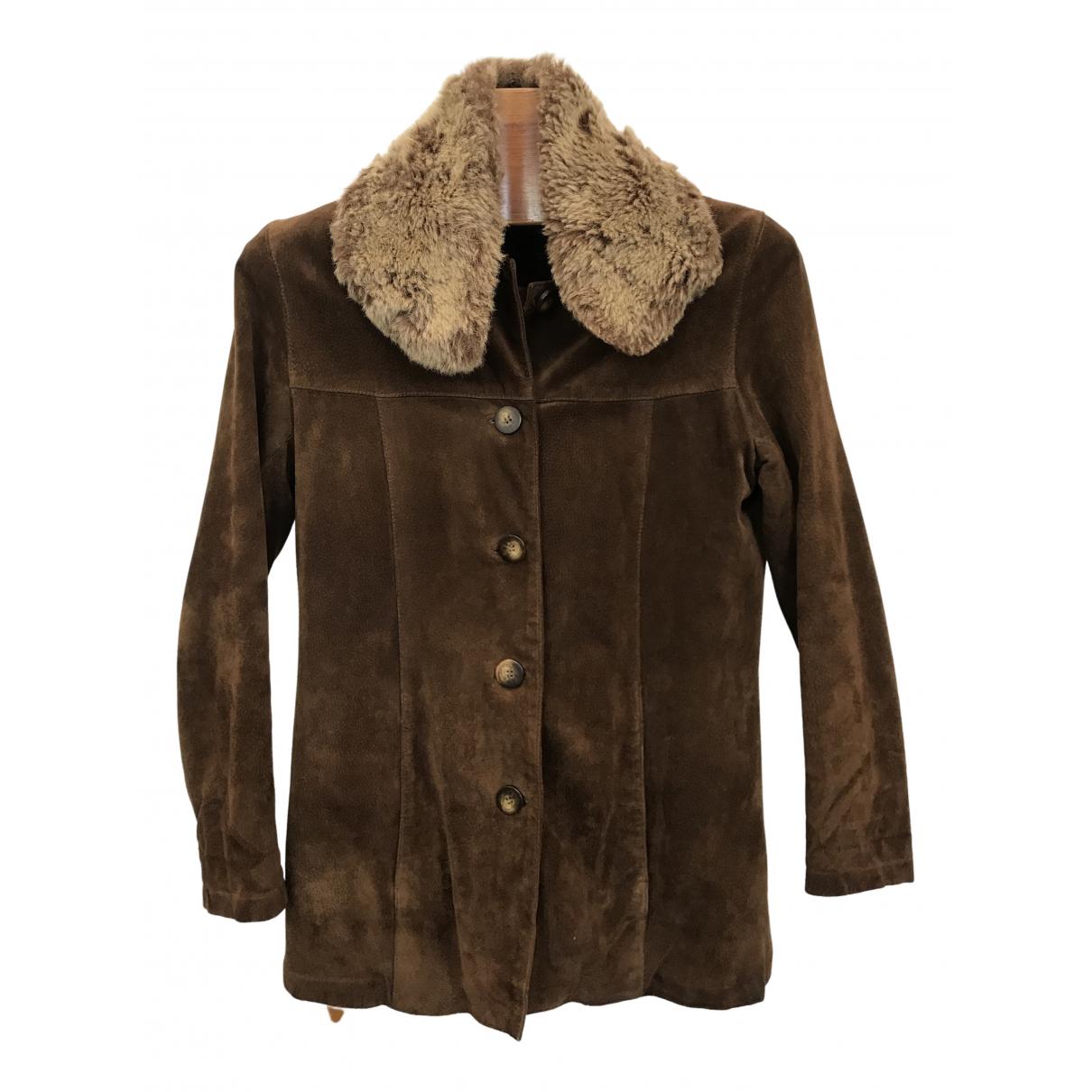 - Veste   pour femme en suede - marron