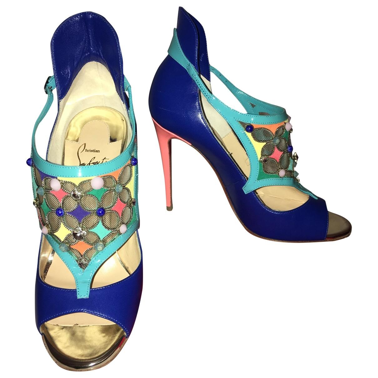 Christian Louboutin - Sandales   pour femme en cuir - bleu