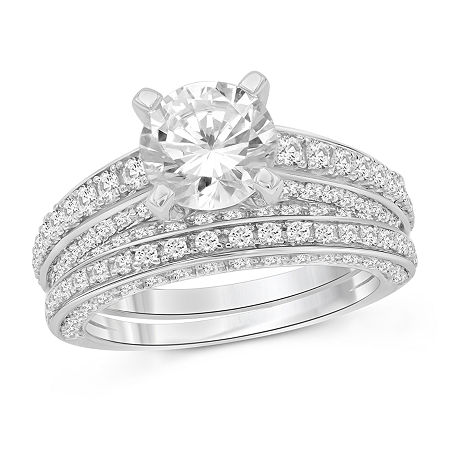 Womens 5 3/4 CT. T.W. White Cubic Zirconia Sterling Silver Engagement Ring, 6 , No Color Family