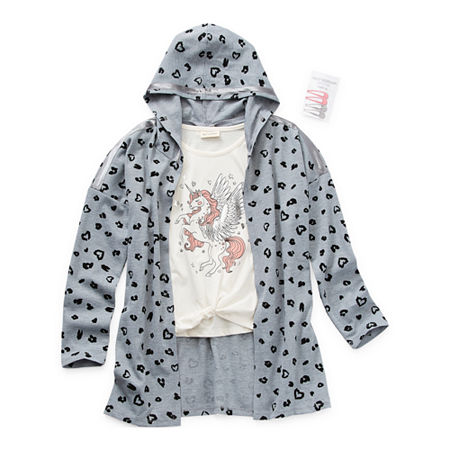 Self Esteem Little & Big Girls Hooded Shirt Set, Large (14) , Gray