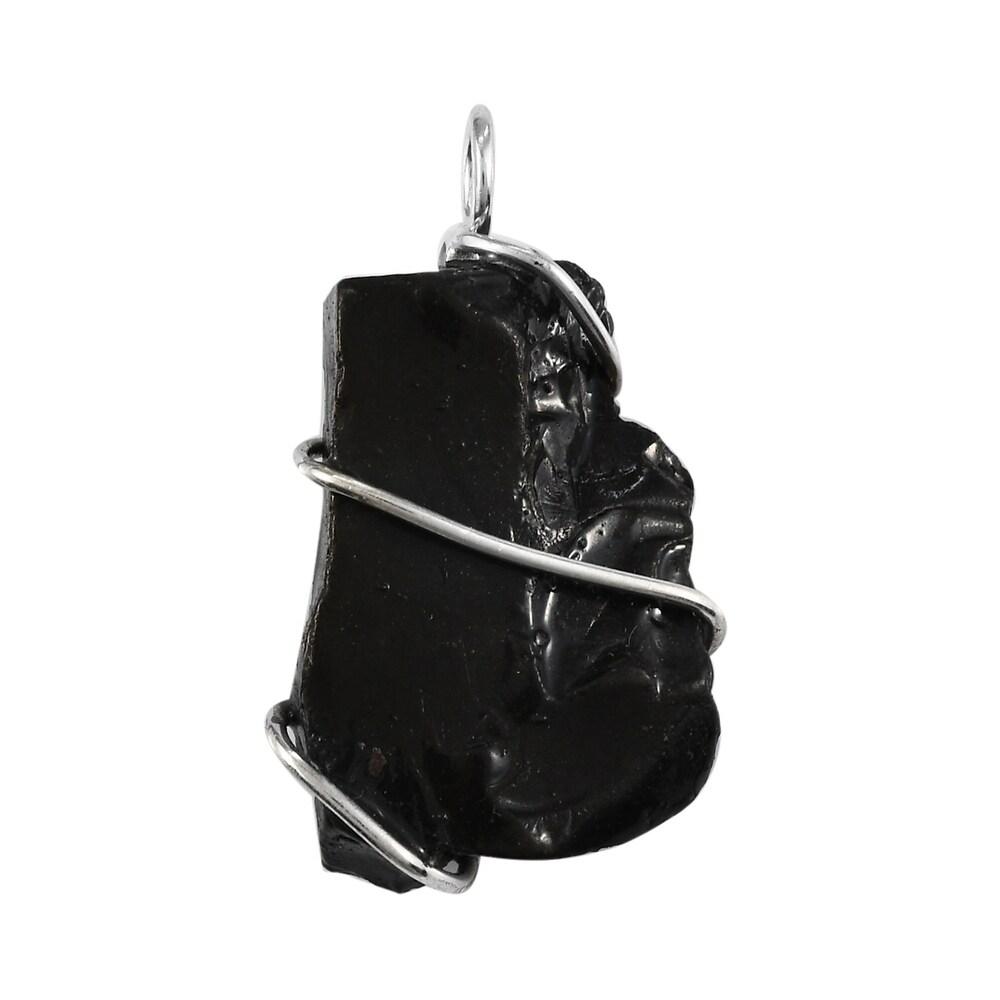 925 Sterling Silver Black Shungite Pendant Ct 15.5 (White - White)