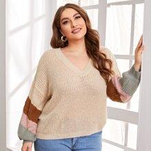 Pullover mit sehr tief angesetzter Schulterpartie und Kontrast Einsatz