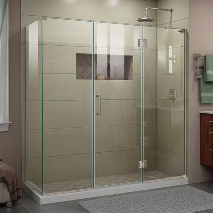 E32422534R-04 Unidoor-X 70 1/2  W x 34 3/8 D x 72 H Frameless Hinged Shower Enclosure in Brushed