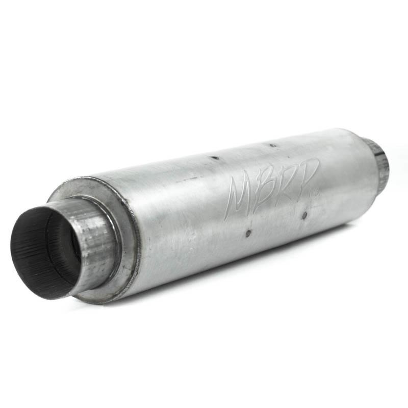 MBRP M1004A 4 Inch Inlet/Outlet Quiet Tone Exhaust Muffler 24 Inch Body 6 Inch Diameter 30 Inch Overall Aluminized Steel