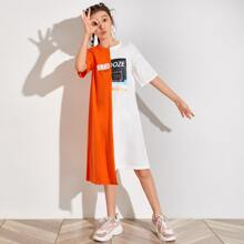 Girls Graphic Print Drop Shoulder Stepped Hem Colorblock Tee Dress