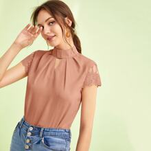 Embroidered Mesh Sleeve Keyhole Front Top