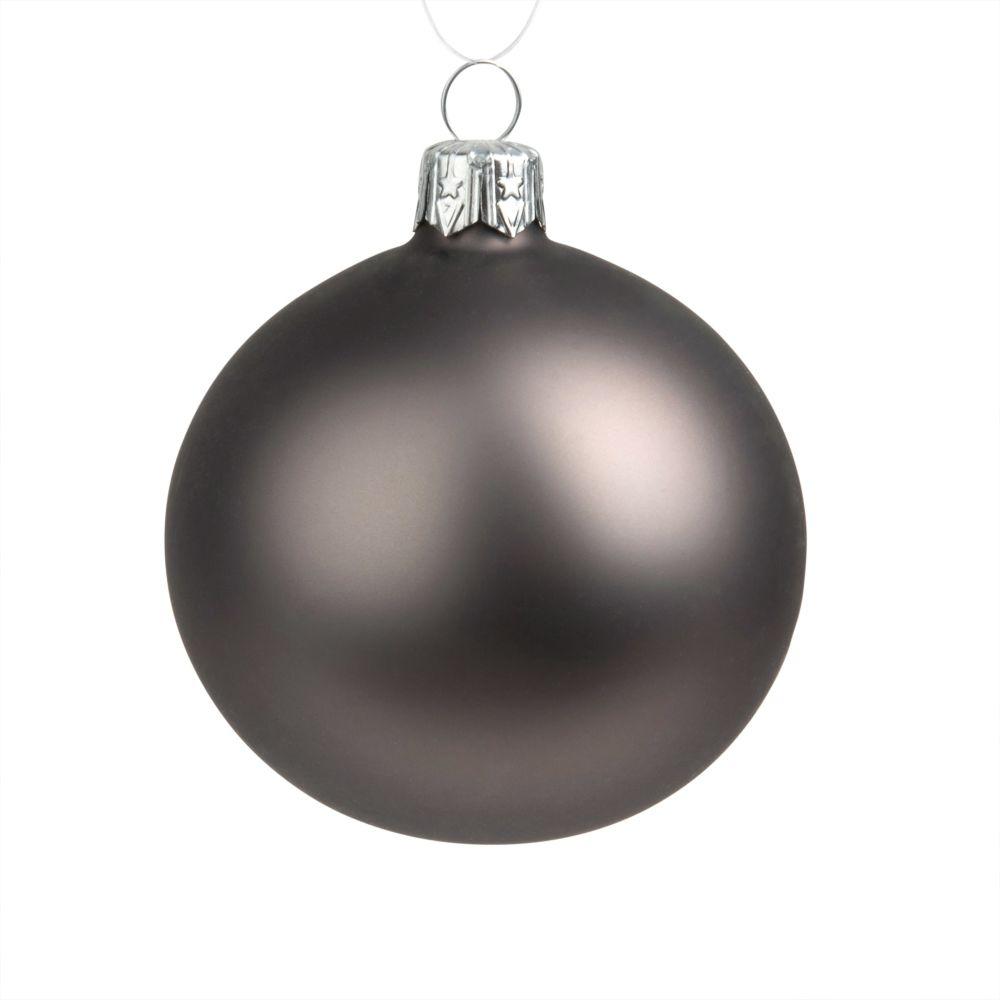 Weihnachtskugel aus Glas, braun, matt