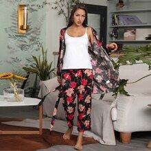3 Stuecke Schlafanzug Set mit Blumen Muster und Selbstband