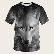 Men 3D Wolf Print Tee