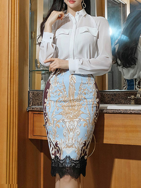 Milanoo Two Piece Sets White Shirt With Skirt