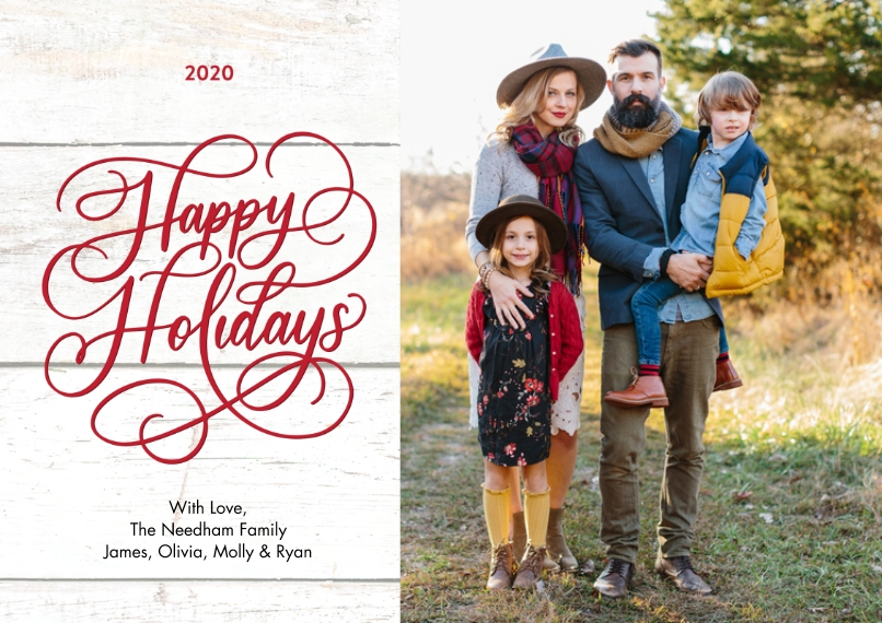 Holiday Photo Cards 5x7 Cards, Premium Cardstock 120lb, Card & Stationery -2020 Holiday Rustic Script by Tumbalina