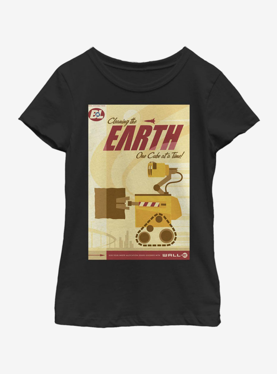 Disney Pixar WALL-E Cleaning The Earth Poster Youth Girls T-Shirt