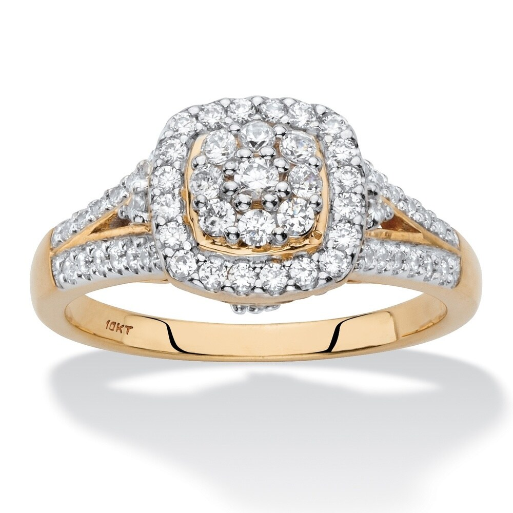 Diamond Halo Cushion-Shaped Engagement Ring 1/2 TCW in Solid 10k Yellow Gold (9)
