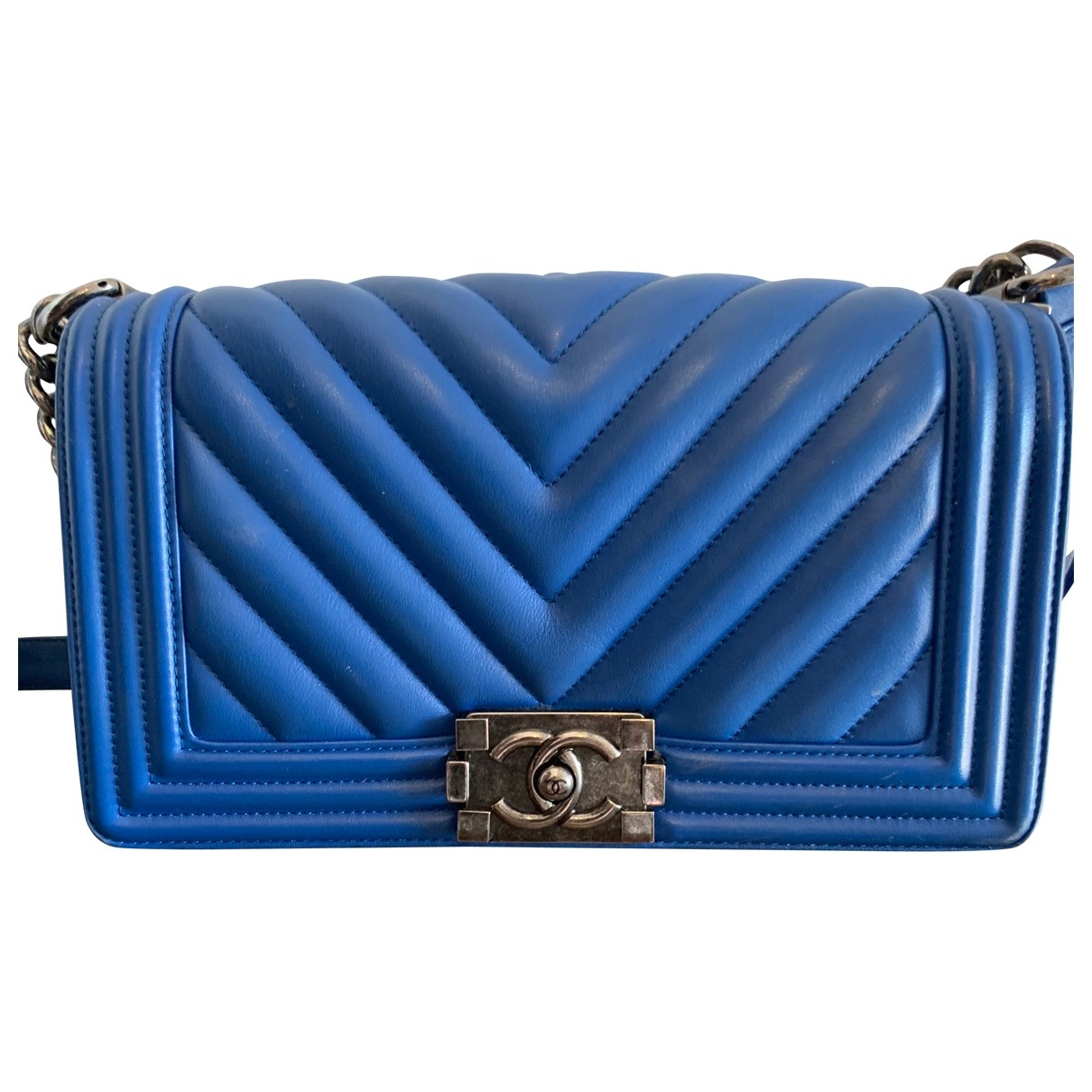 Chanel Boy Handtasche in  Blau Leder