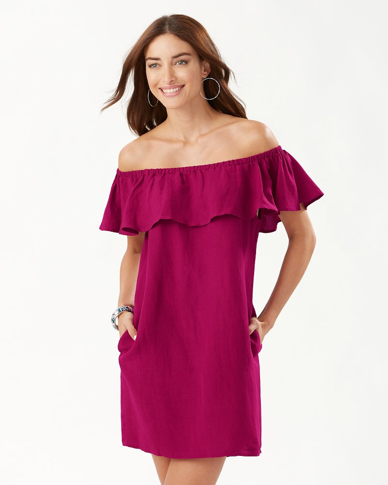 Linen-Blend Off-The-Shoulder Dress