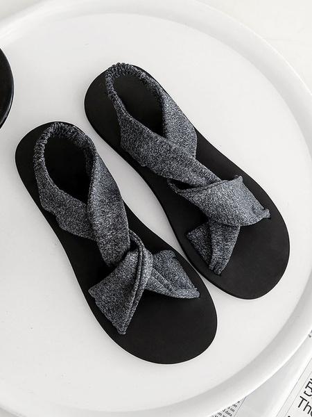 Milanoo Womens Black Flat Sandals Black Open Toe Criss Cross strap Beach Sandal Shoes