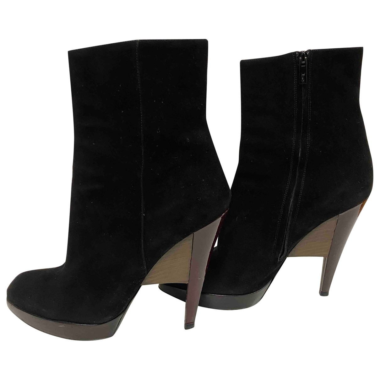 Yves Saint Laurent \N Black Suede Ankle boots for Women 41 EU
