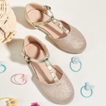 Toddler Girls Faux Pearl Decor T-Strap Flats