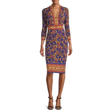London Style 3/4 Sleeve Bordered Sheath Dress, 4 , Blue