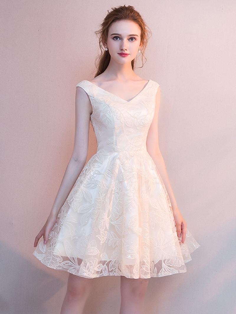 Ericdress Short Sleeveless A-Line Lace Homecoming Dress