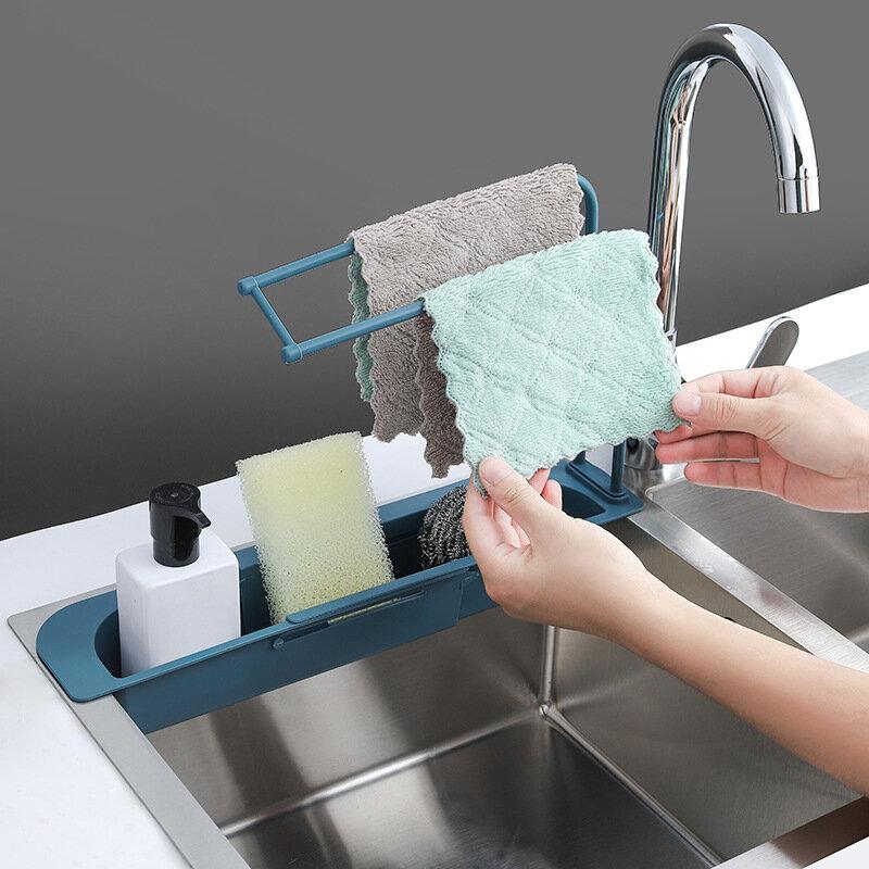 Telescopic Sink Sponge Holder Expandable Water Storage Basket Towel Bar Extensible Sink Storage Rack