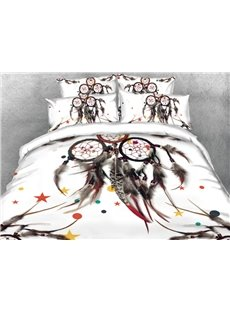 Vivilinen 3D Dreamcatcher Printed 4-Piece White Bedding Sets/Duvet Covers