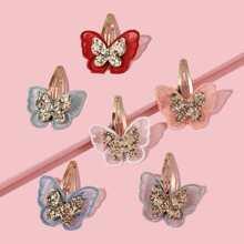 6pcs Toddler Girls Butterfly Decor Hair Clip