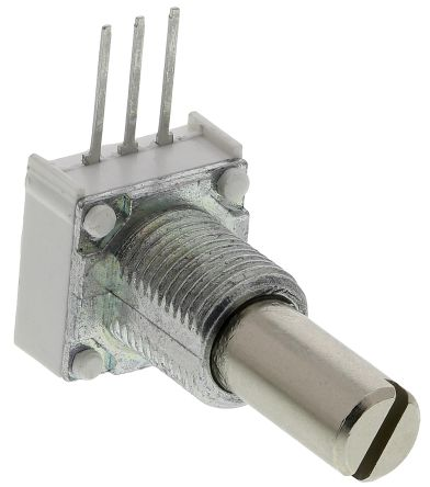 Vishay 1 Gang Rotary Cermet Potentiometer with an 6.35 mm Dia. Shaft - 500kΩ, ±10%, 1W Power Rating, Linear, Panel