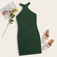 Rib-knit Halterneck Bodycon Dress