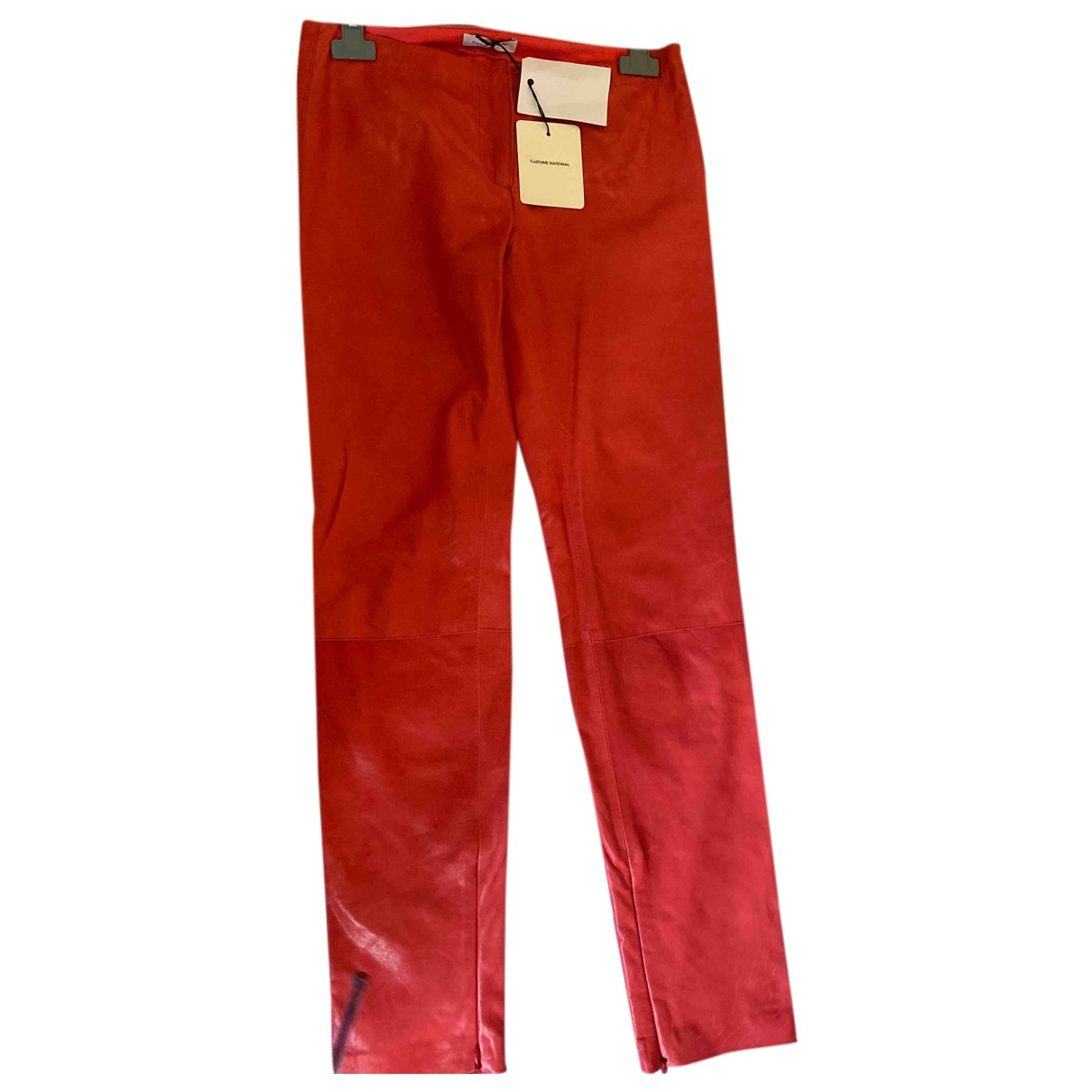 Costume National N Red Leather Trousers for Women 38 IT