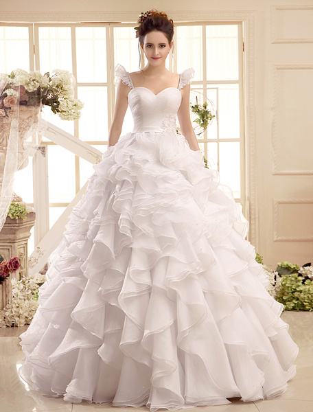 Milanoo Sweetheart Neck Applique Floor-Length Ivory Wedding Dress For Bride