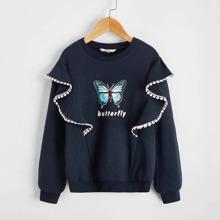 Sweatshirt mit Buchstaben & Schmetterling Muster und Ruesche