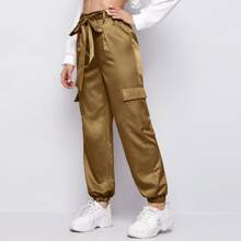 Flap Pocket Side Self Belted Satin Pants