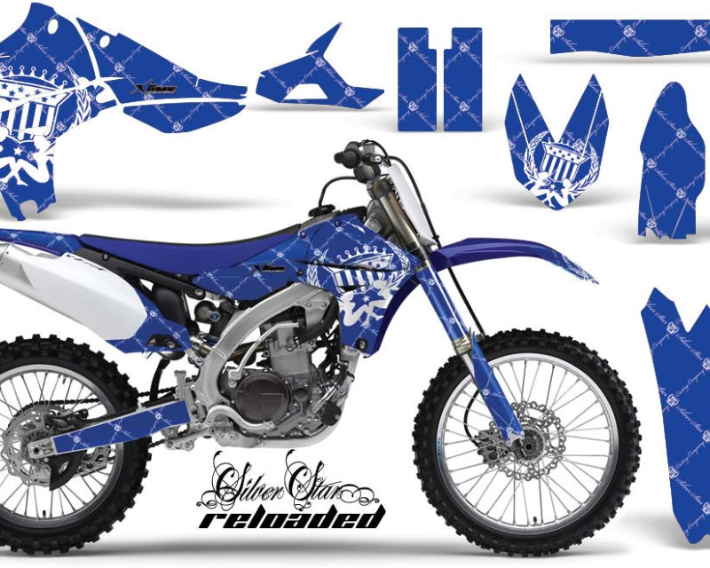 AMR Racing Dirt Bike Graphics Kit Decal Sticker Wrap For Yamaha YZ450F 2010-2013áRELOADED WHITE BLUE